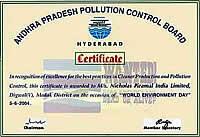 Certificate: Andhra Pradesh Pollution Control Board